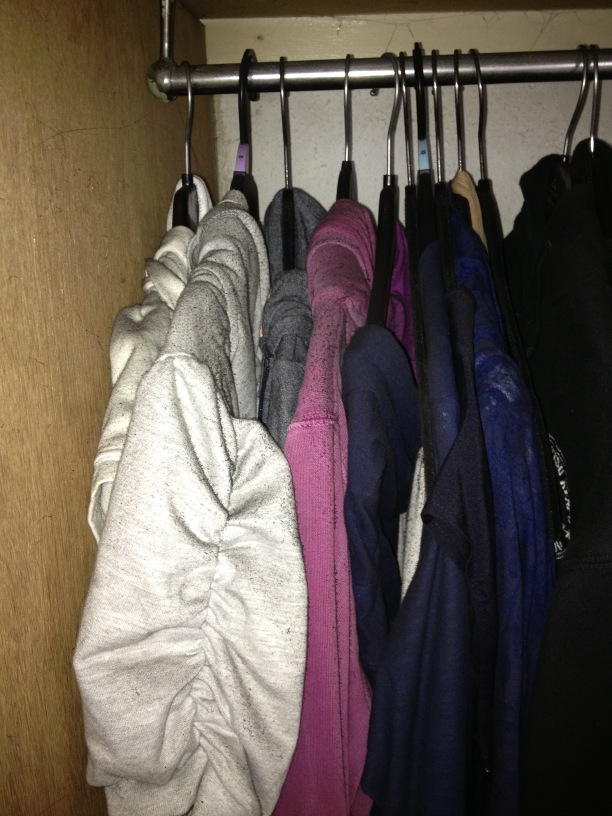 My clothes, visible soot settled on them all. They can't be cleaned.